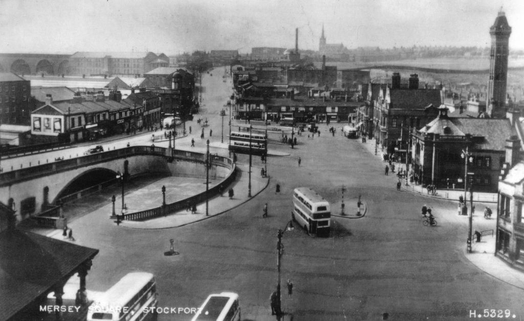 Mersey Square 1954, taken from the Plaza. The Fire Station is on the right.