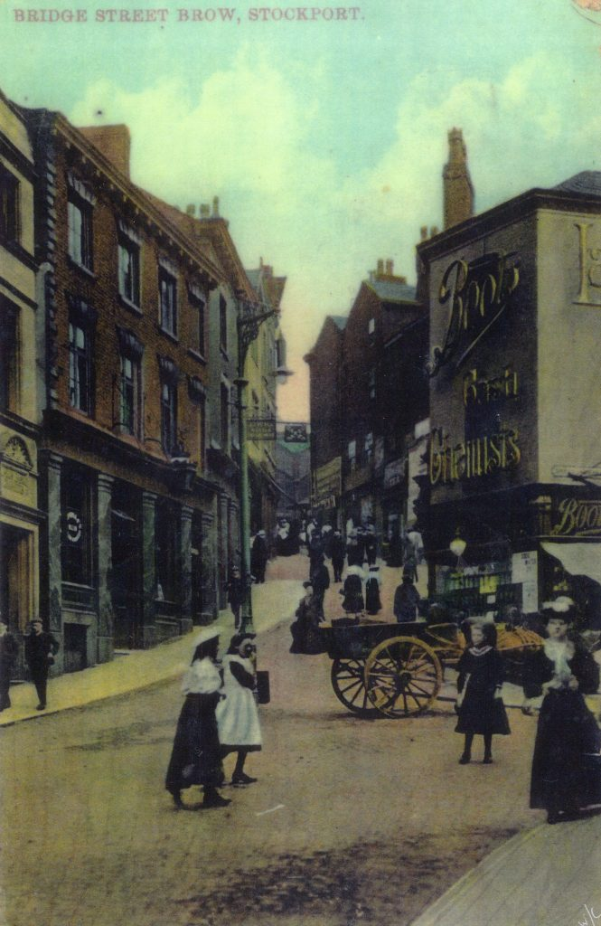 Bridge Street Brow around the early 1900s. Boots is on the right hand corner