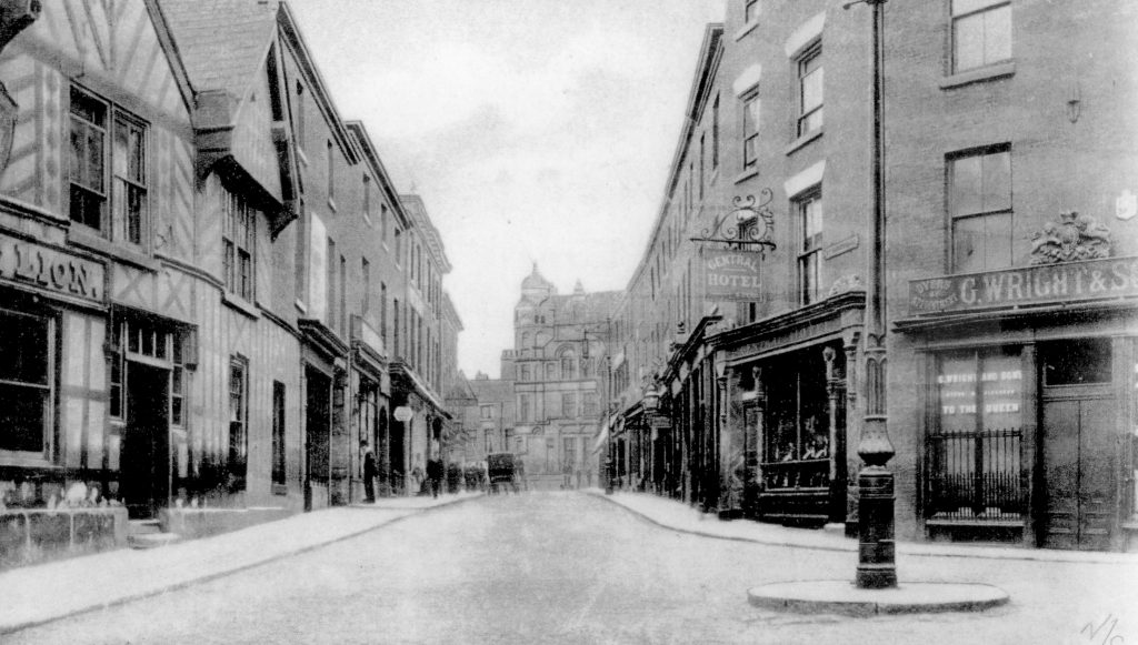 Late 1800s Great Underbank with the old White Lion on the left
