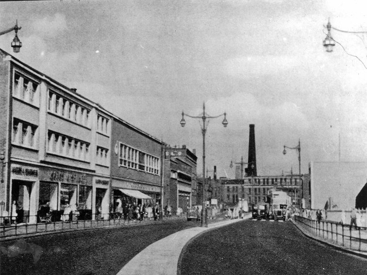 Mersey Way road  c1950 with Woolworths on the left