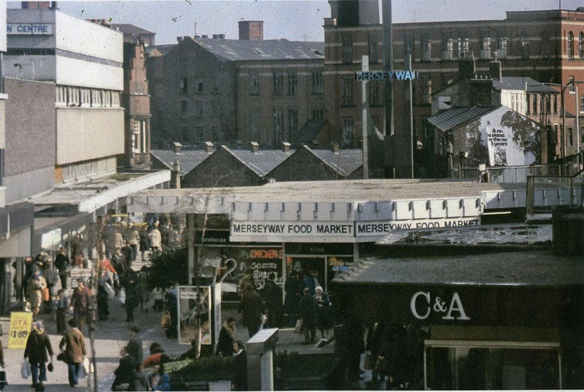 Merseyway 1970s looking towards Park Mills with C&A and the sculpture