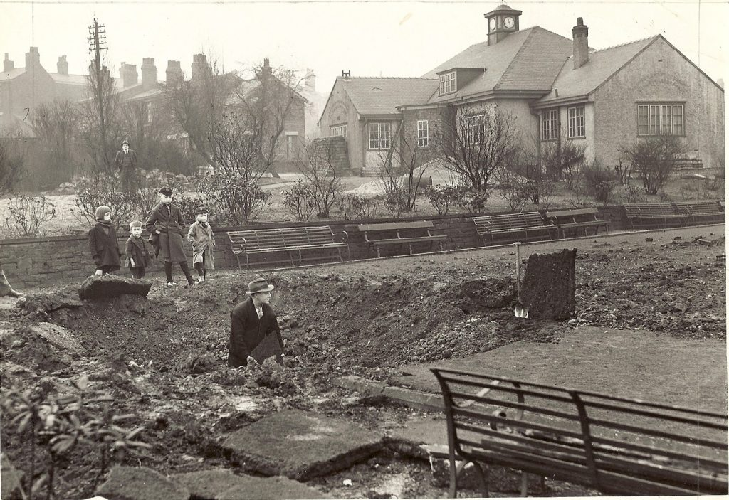 WW2 bomb damage in Gorsey Bank Park - the Pavillion stands undamaged on the right.