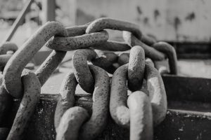 black and white giant chain links close up