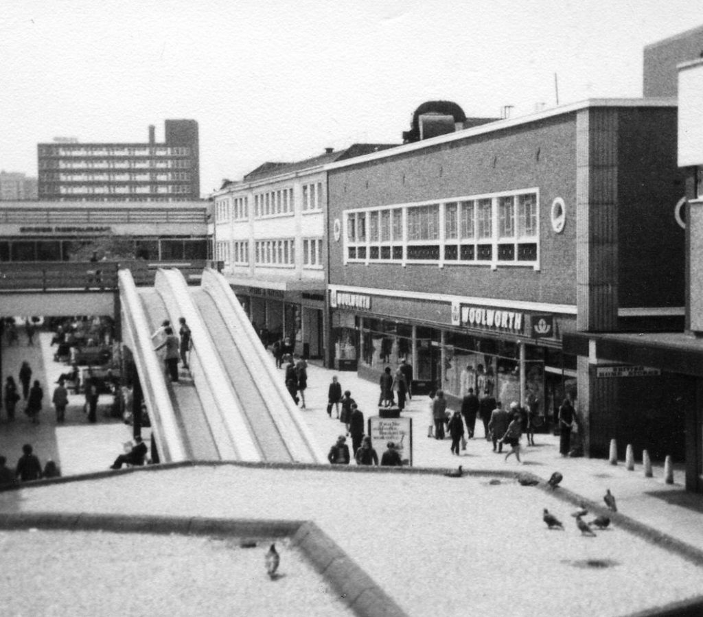 Merseyway Precinct late 1960s/70s. Note the famous escalators and good old Woolworths.