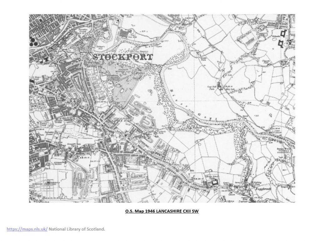 1946 Ordnance Survey map showing Woodbank with more built up surroundings