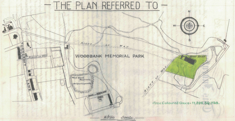 """The plan Referred To"" Woodbank Memorial Park with Turncroft Lane on the left. Two rights of way lead to a green coloured area with the Hall at the top."