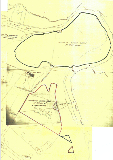Map showing two large areas outlined to be King George's Fields