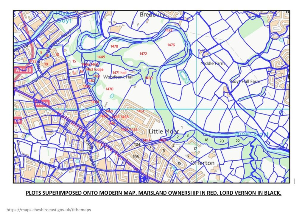 Plots as tithe map superimposed onto a modern map.map